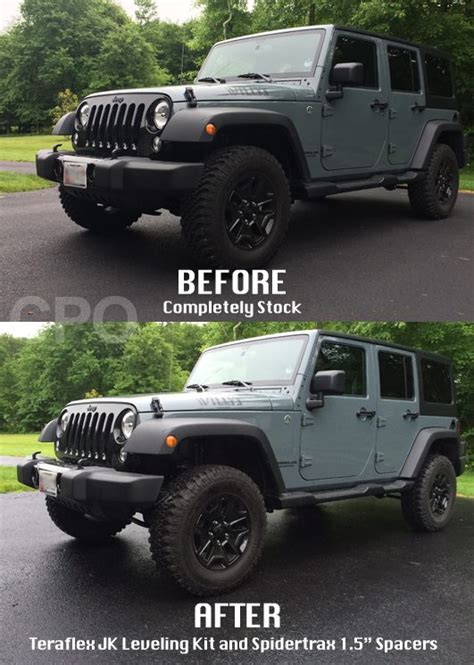 Jeep Jk Wheel Spacers Before And After Jk Teraflex Leveling Kit And Spidertrax Spacer