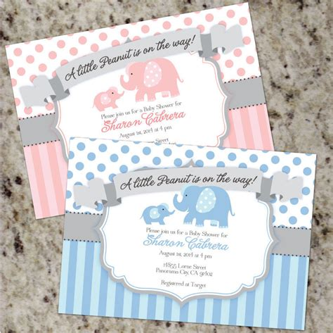 Elephant Themed Baby Shower Invitations by Peanut Baby Elephant Themed Shower Invitations