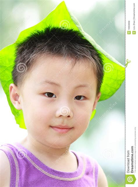 leaf boys model asian boy with leaf cap stock photo image of relax lotus