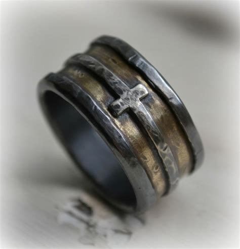 Handmade Mens Ring - mens wedding band rustic silver brass and sterling