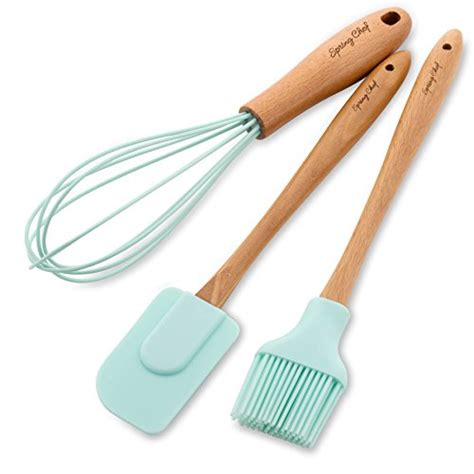 Spatula Brush Silicone Set 3in1 chef spatula pastry brush whisk silicone set with beechwood handle mint loved kitchen