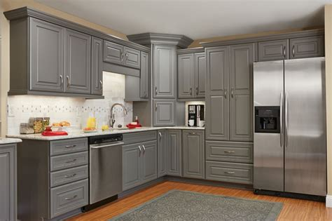 Table Island Kitchen by Master Brand Schrock Galena Gray Kitchen Cabinets