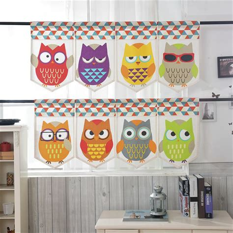 cute owl kitchen curtains dearmotorist com