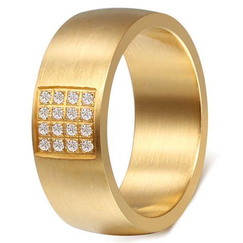 Cincin Gold Plated Zirconia Stainless Steel gold plated brushed finish stainless steel cubic zirconia inlay band ring bijouxstore webid 1021