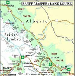 map of banff jasper and lake louise alberta