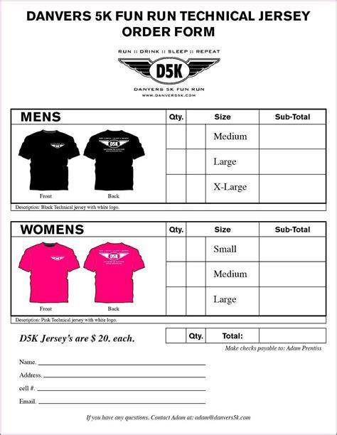 free t shirt order form template t shirt order form exle proposalsleletter