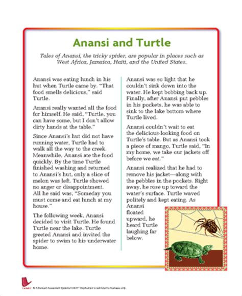 printable version of anansi wisdom story anansi and the turtle