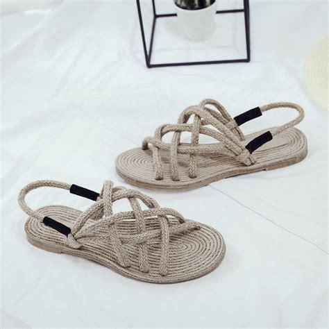 hemp rope sandals sandals flat shoes platform hemp rope