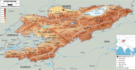 kyrgyzstan map physical map of kyrgyzstan ezilon maps