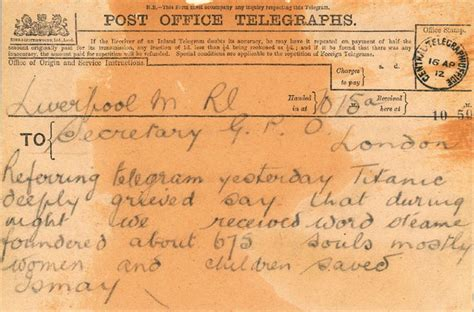 titanic film uk certificate the third telegram about the sinking of the titantic from