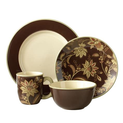 smith turkish floral brown 16 dinnerware set