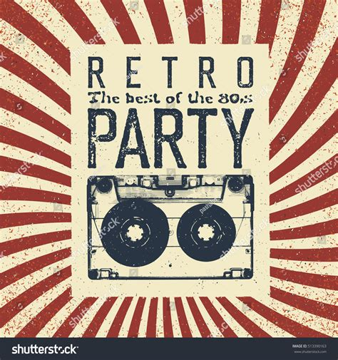 retro photos retro party advertising flyer old audiocassette stock