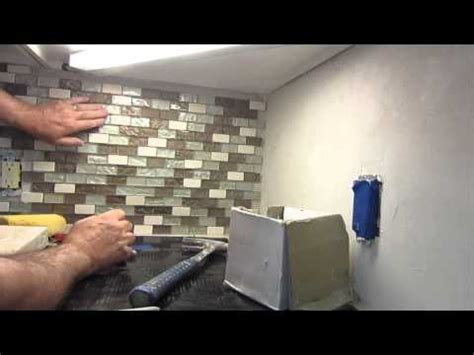 How To Install Glass Mosaic Tile Kitchen Backsplash by How To Install A Glass Mosaic Tile Backsplash Parts 1 2