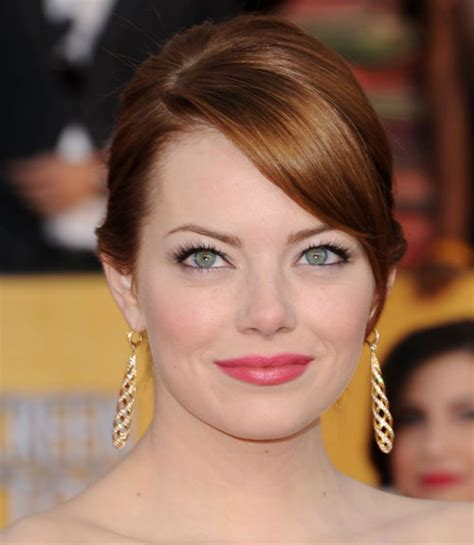 emma stone forehead side swept bangs and hairstyles celebrity side swept hair