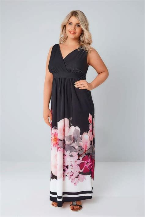 Bordira Maxi Dress black pink floral border print slinky jersey maxi dress