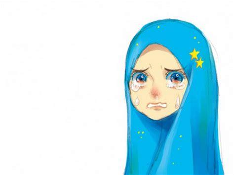 gambar kartun cewek menangis karena sedih dan kecewa daunbuah