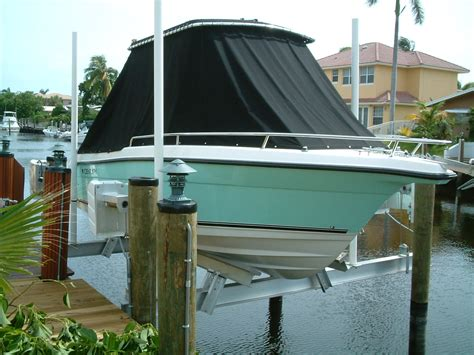 boat lift installation cradle boat lift wood dock install south florida all