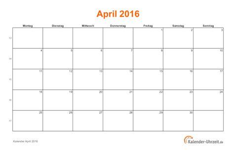 April Kalender 2016 April 2016 Kalender Mit Feiertagen