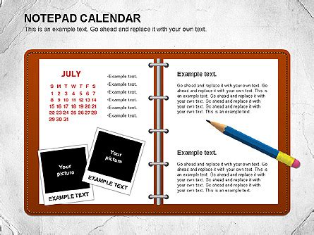 calendar notepad design notepad calendar for powerpoint presentations download