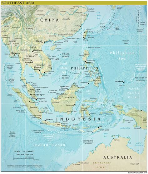 east asia physical map southeast asia and oceania political map