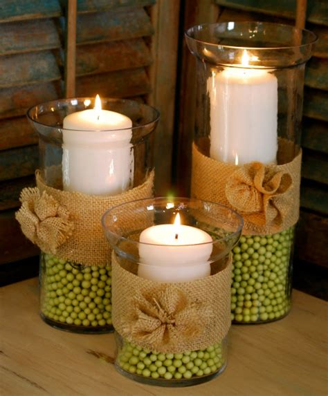 glass vase and burlap candle display