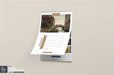 wall calendar psd mockup template age themes