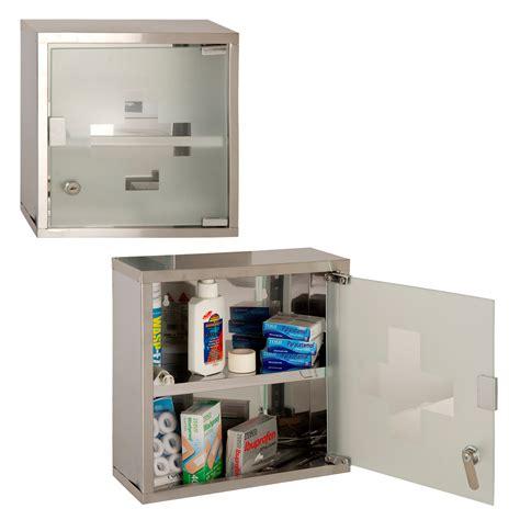 locking wall cabinet steel wall mounted lockable 2 keys medicine cabinet cupboard