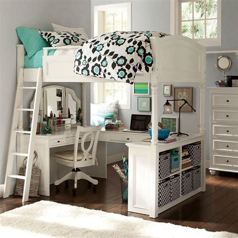 pottery barn size loft bed vanity desk chelsea white