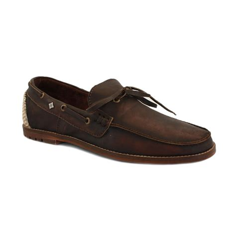 feud lenny mens slip on leather boat shoes brown