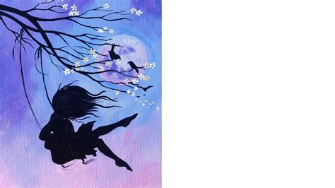 girl on a swing painting beginner acrylic tutorial cherry blossom swing and girl