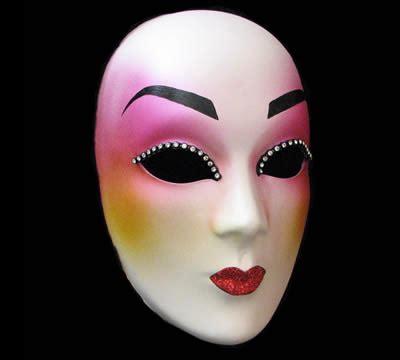 Geisha Mask quot geisha quot pink white designer masquerade mask with
