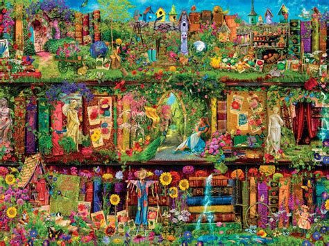 once upon a time bookcase once upon a shelf mystical garden 750 piece puzzle by