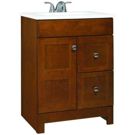 glacier bay bathroom vanities glacier bay artisan 24 in w vanity in chestnut with cultured marble vanity top in white