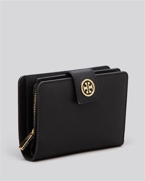tory burch wallet robinson french bi fold  black lyst