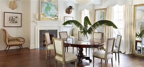 casual eclectic dining room  antique furniture