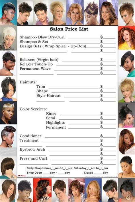 jcp salon price list regis salon service menu hairstylegalleries com