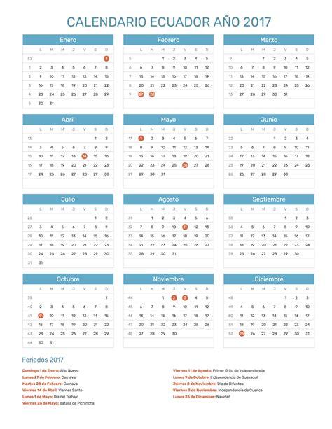 Calendario De Ecuador Calendario Ecuador A 241 O 2017 Feriados