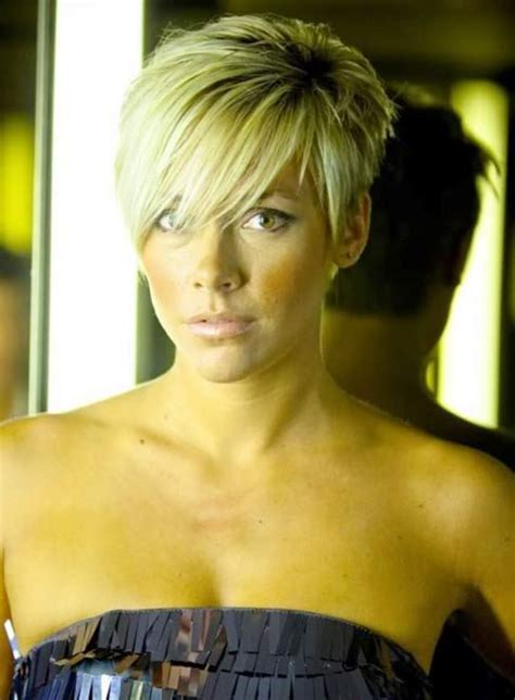 short pixie styles with longs fringes or bangs short nape and layered back with long sides the bangs