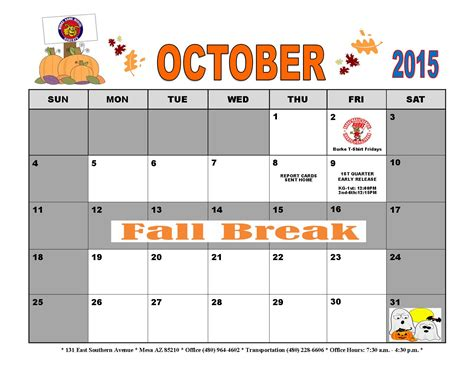 printable school calendar october 2015 november newsletter and calendar burke basic school