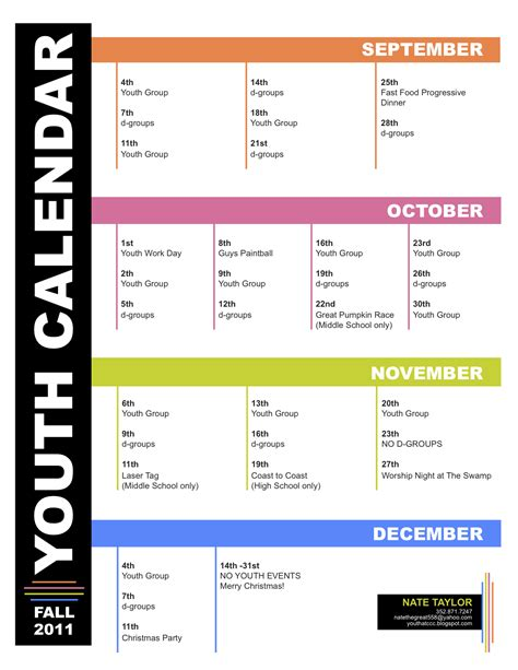 Youth Ministry Calendar Template by Youth Ministry Calender Template Regnews99