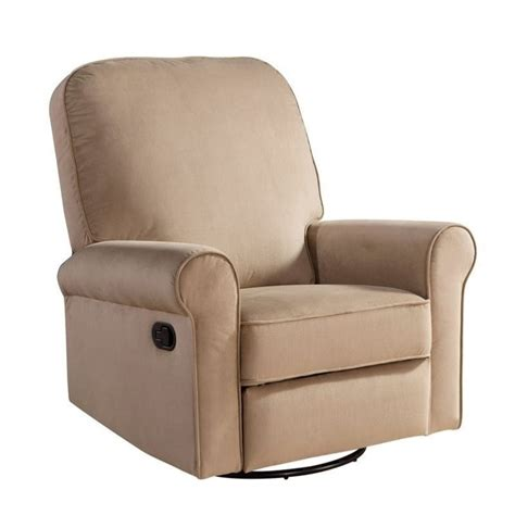 beige recliner chairs abbyson living sydney fabric swivel glider recliner chair