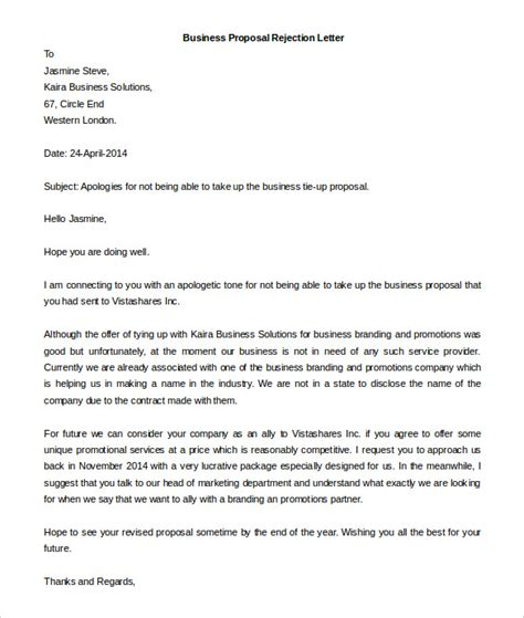 Business Letter Rejection rejection letter for meeting request business letter