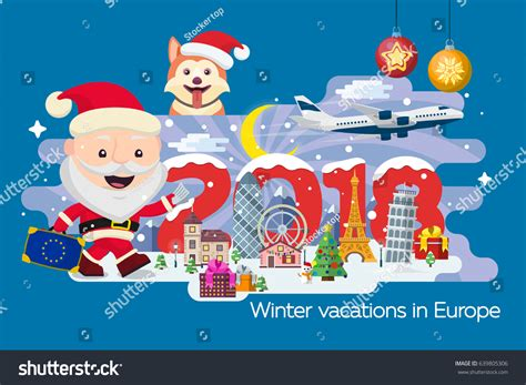 new year vacation time merry banner traveling time vacation stock