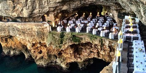 cave resturuant side of a cliff italy carved into a cliff is the most romantic italian restaurant