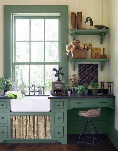 farmhouse kitchen the soft green paint color the curtain the sink rustic