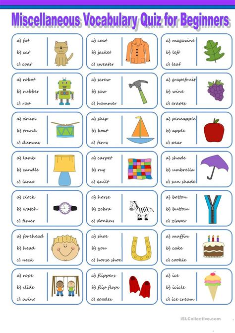 printable english word games for beginners miscellaneous vocabulary quiz for beginners 1 worksheet