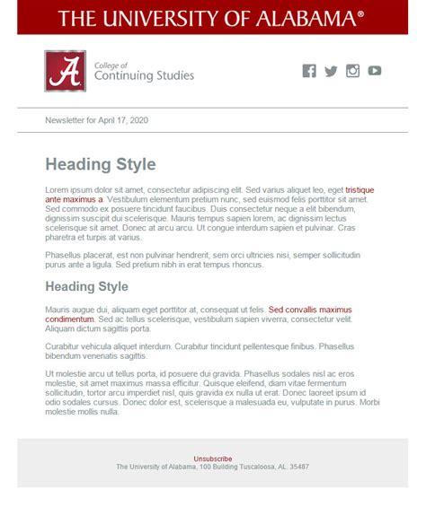 Email Templates Division Of Strategic Communications The University Of Alabama Communication Email Templates