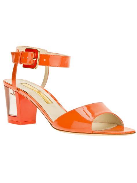 orange sandal heels rupert sanderson block heel sandals in orange lyst