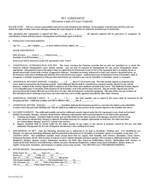 Lease Letter Pet Pet Agreement Form 5 Free Templates In Pdf Word Excel