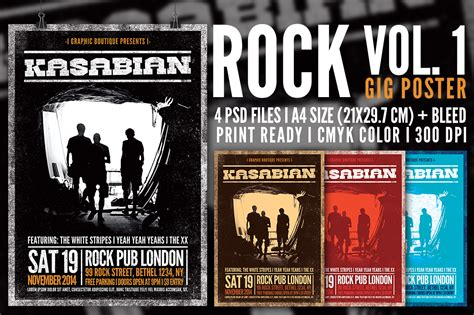 gig poster templates rock gig poster vol 1 flyer templates on creative market